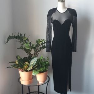 Vintage Velour Strong Shoulder Velvet Dress